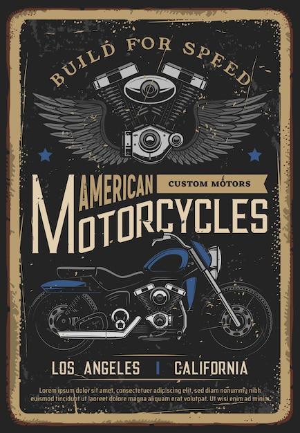 Moto poster vintage, motociclista moto chopper bike Vettore Premium