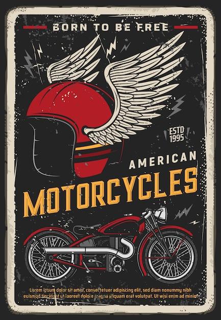 Poster di moto, moto d'epoca, corse di motociclisti Vettore Premium