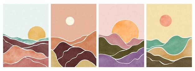 Montagna, foresta, collina, onda, sole e luna sul grande set. stampa d'arte minimalista moderna di metà secolo. paesaggio estetico contemporaneo astratto. Vettore Premium