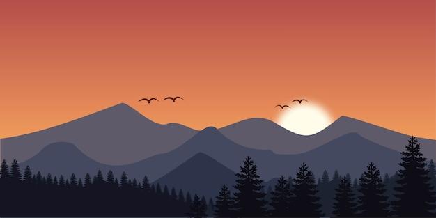 Sfondo di paesaggio di montagna in design piatto Vettore Premium
