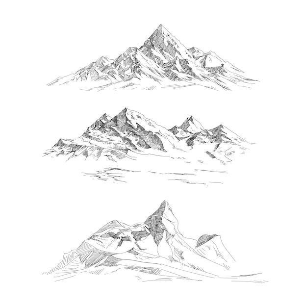 Catene montuose in stile incisione. panorama vettoriale Vettore Premium