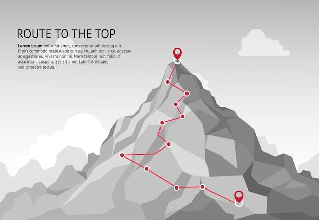 Infografica percorso di montagna. viaggio sfida percorso obiettivo aziendale crescita carriera successo arrampicata missione. concetto di passaggi del percorso delle montagne Vettore Premium