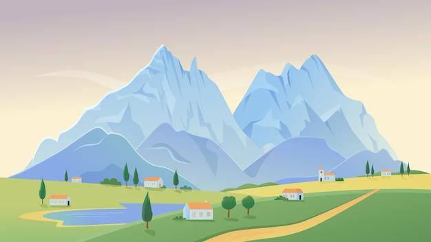 Paesaggio rurale del paesaggio del villaggio di montagna con case coloniche sul fondo di panorama estivo del campo verde Vettore Premium