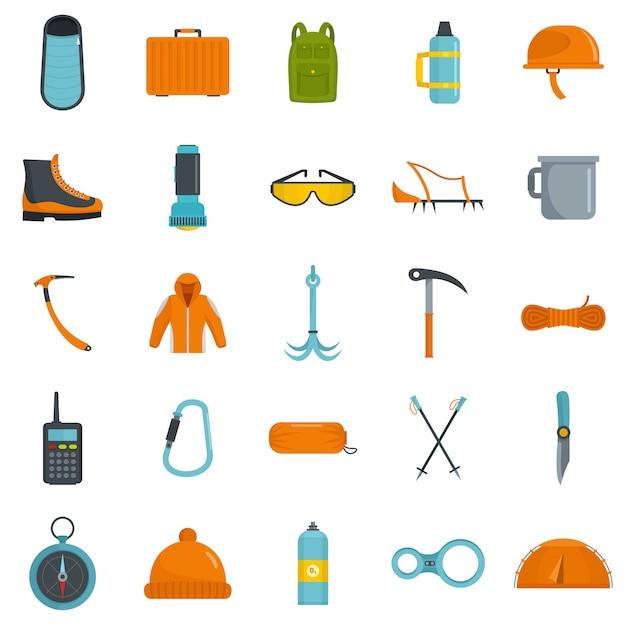 Set di icone attrezzatura alpinismo Vettore Premium
