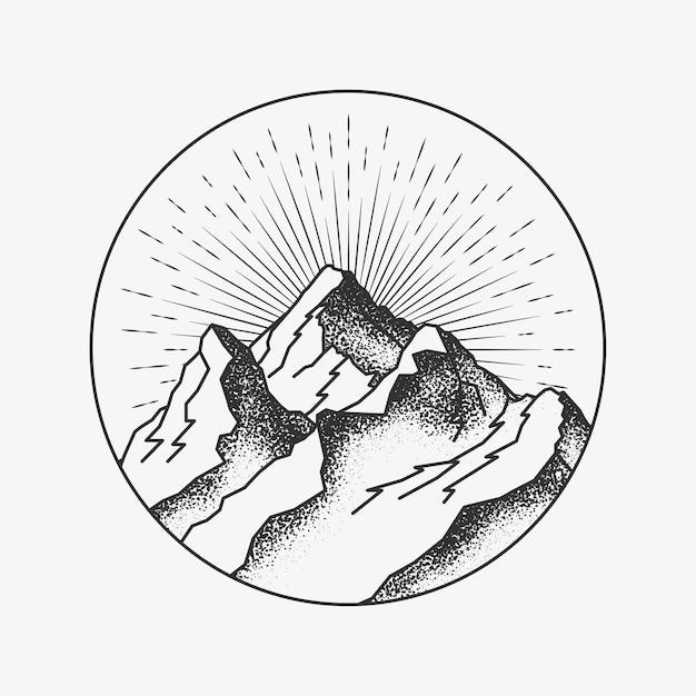 Picco di montagne rotondo cerchiata logo o distintivo o adesivo tatuaggio dotwork per poster o posta o volantino di montagne. Vettore Premium