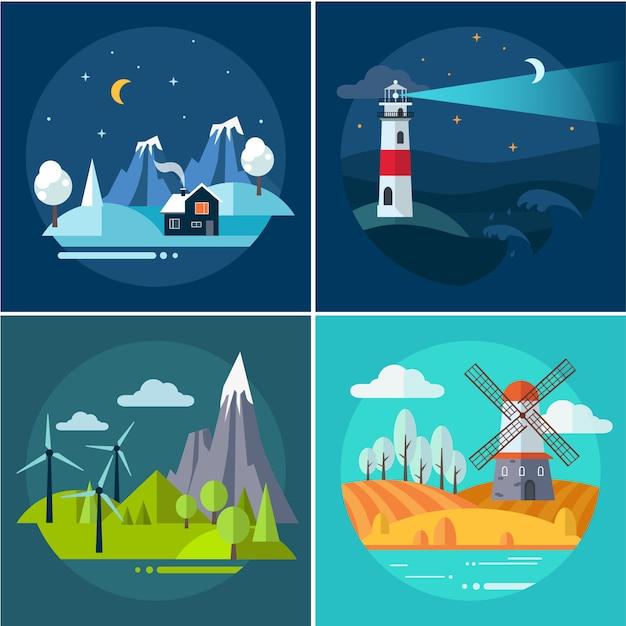 Insieme di illustrazioni del paesaggio dell'acqua e delle montagne Vettore Premium