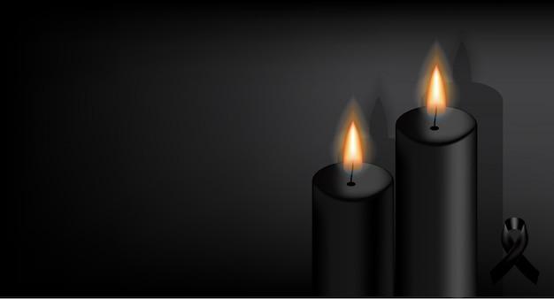 Simbolo del lutto con nastro nero rispetto e candela. Vettore Premium