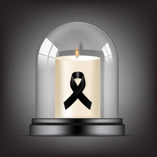 Simbolo di lutto con rip nastro nero rispetto e candela in vetro trasparente cupola sfondo banner. rest in peace illustrazione funerale. Vettore Premium