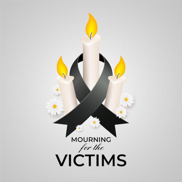 Lutto per le vittime con le candele Vettore Premium