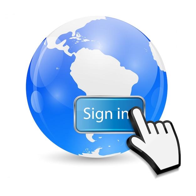 Il cursore della mano del mouse su firma il pulsante e il globo Vettore Premium