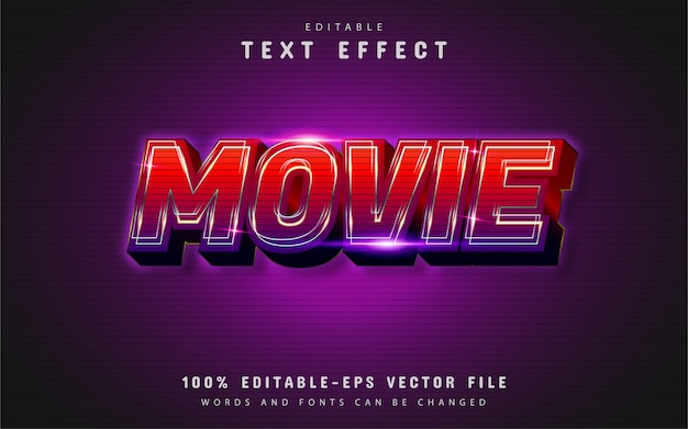 Effetto di testo del film con sfumatura rossa Vettore Premium