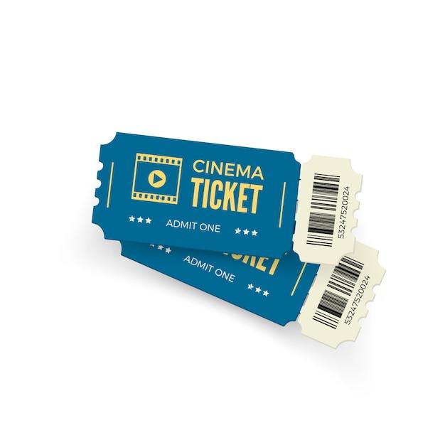 Biglietto del cinema. biglietti del cinema blu su sfondo bianco. modello di biglietto del cinema realistico. illustrazione Vettore Premium