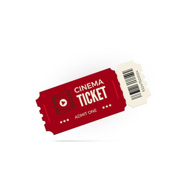 Biglietto del cinema. biglietto del cinema rosso su sfondo bianco. illustrazione Vettore Premium