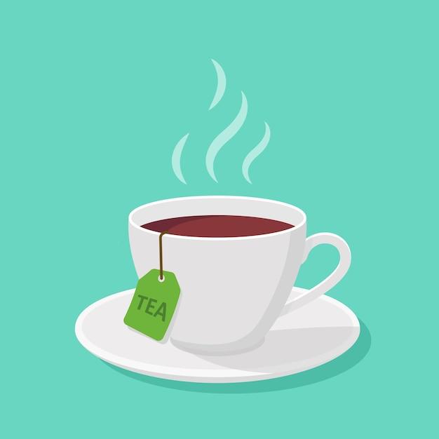 Tazza di tè e vapore in uno stile piatto - clipart Vettore Premium