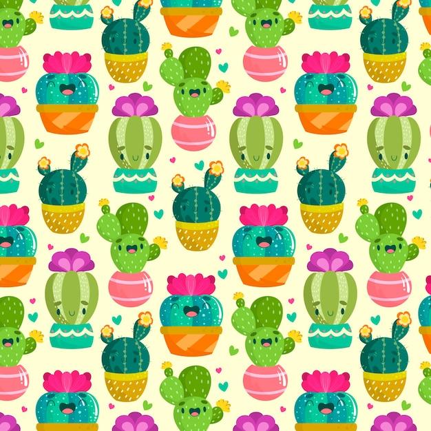 Modello cactus multicolore Vettore Premium