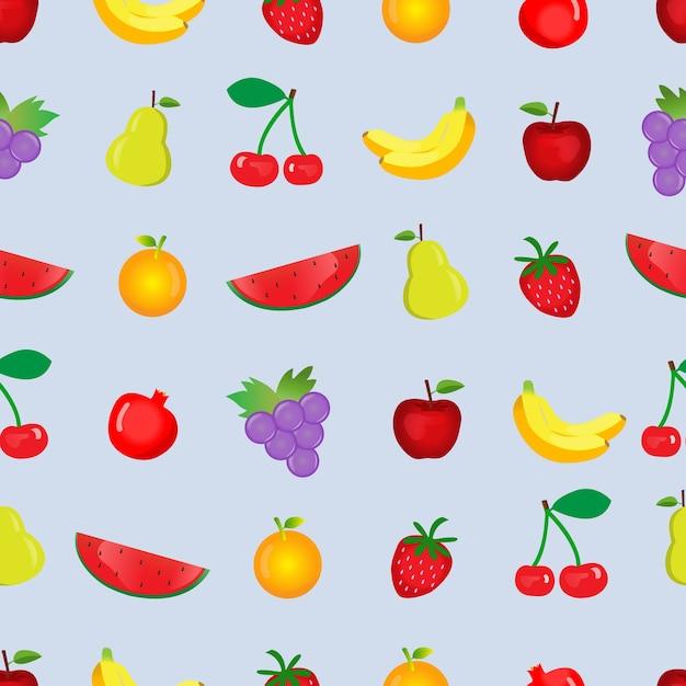 Multi frutti senza soluzione di continuità su sfondo blu pastello o carta da parati. Vettore Premium
