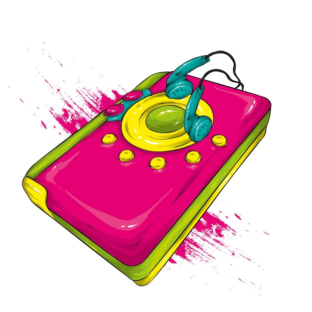 Lettore audio retrò multicolore Vettore Premium