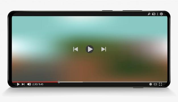 Lettore multimediale su smart phone. social media. sottoscrivi. Vettore Premium
