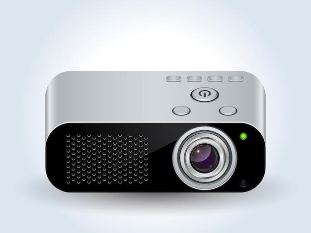 Icona realistica del proiettore multimediale Vettore Premium