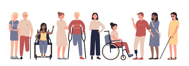Disabili multirazziali con l'insieme piano dell'illustrazione di vettore dei caratteri degli amici Vettore Premium