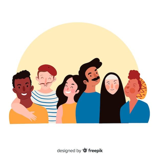 Gruppo multirazziale di persone felici sorridenti Vettore Premium