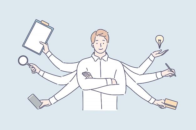 Multitasking, efficienza aziendale, sovraccarico, concetto di competenza professionale. Vettore Premium