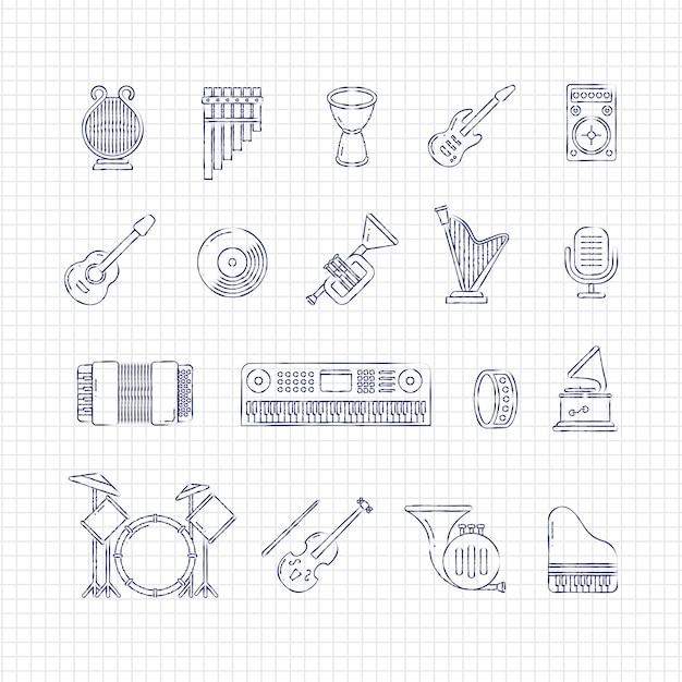 Icone di sottile linea di strumenti di musica concerto Vettore Premium