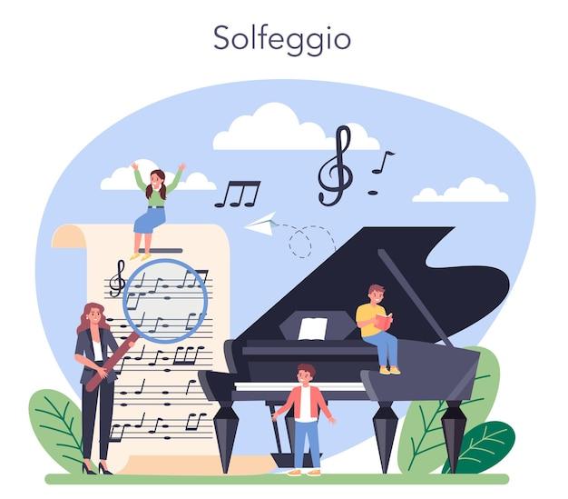 Corso di educazione musicale. giovane interprete che suona musica con attrezzature professionali. classe di solfeggio. illustrazione vettoriale. Vettore Premium