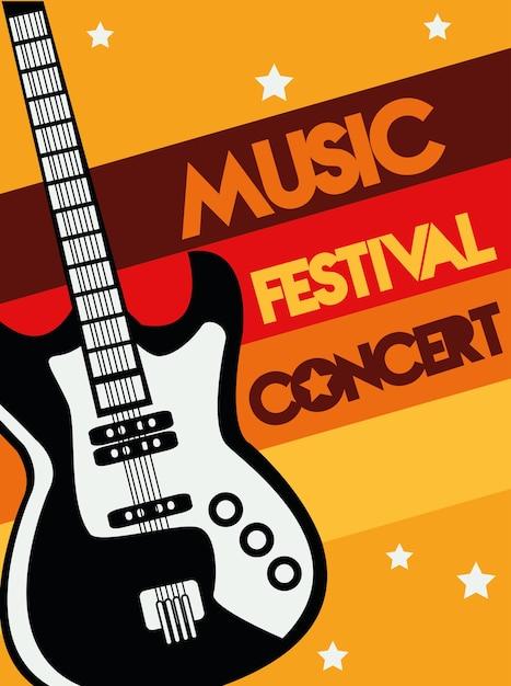 Manifesto del festival musicale con strumento di chitarra elettrica e scritte. Vettore Premium