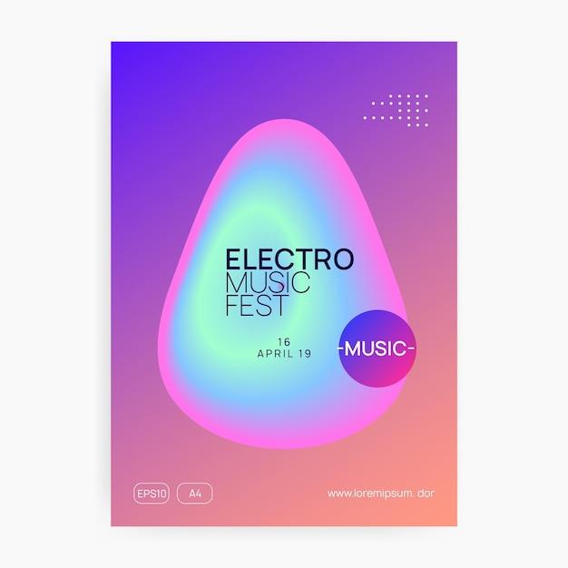 Volantino musicale. suono elettronico. vacanza lifestyle di danza notturna. rivista di concerti techno alla moda Vettore Premium