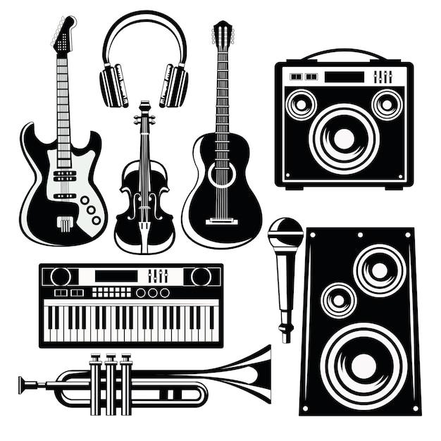 Icone della musica con altoparlanti e strumenti. Vettore Premium