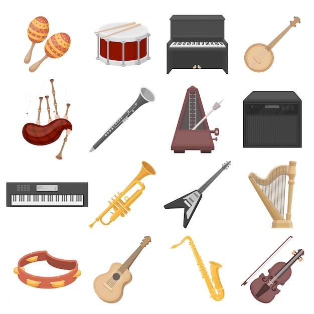 Icona stabilita del fumetto dello strumento musicale Vettore Premium