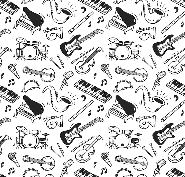 Modello senza cuciture di doodle di strumento musicale Vettore Premium