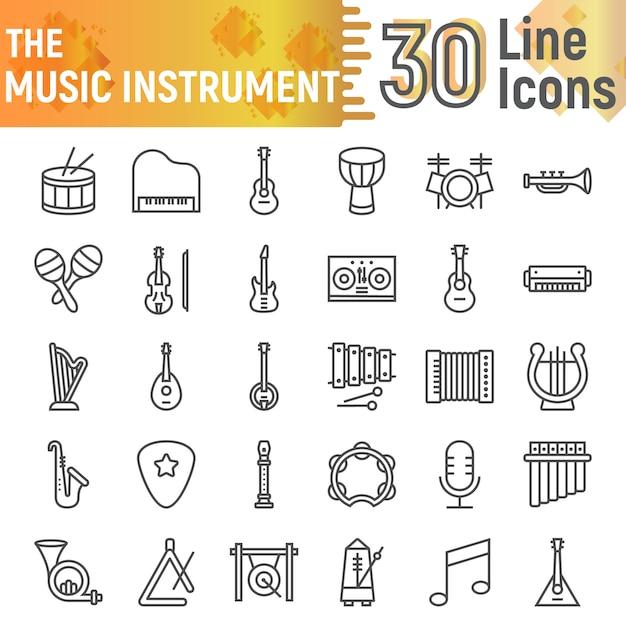 Insieme dell'icona di linea di strumento musicale, raccolta di simboli musicali Vettore Premium