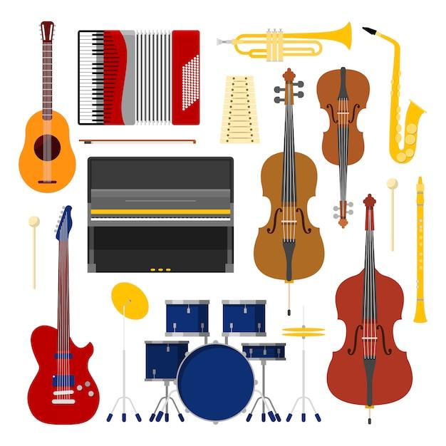 Set di strumenti musicali collezione di icone con tamburo; violino e fisarmonica. Vettore Premium