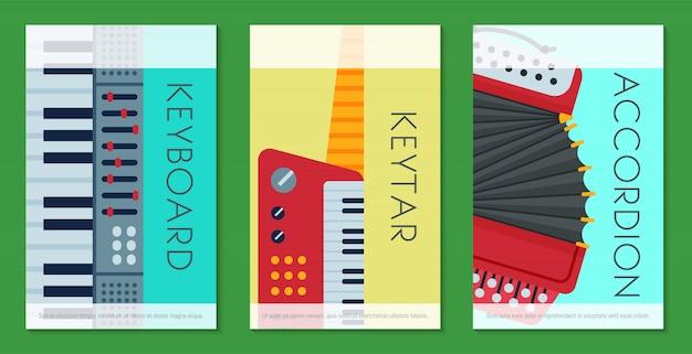 Strumento a tastiera musicale che gioca a carte modello di attrezzatura sintetizzatore. Vettore Premium