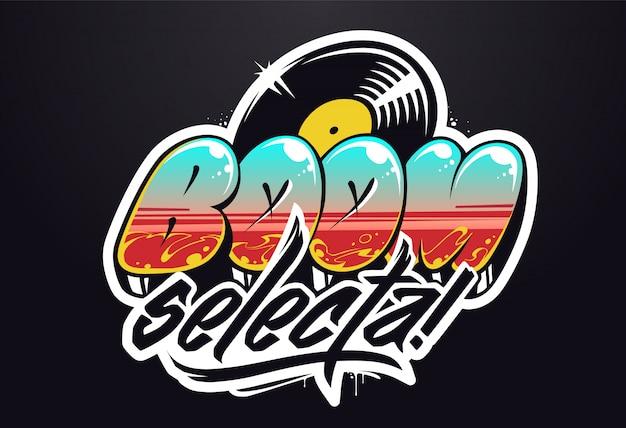 Design del logo musicale. lettering vettoriale graffiti per logo musicale. Vettore Premium