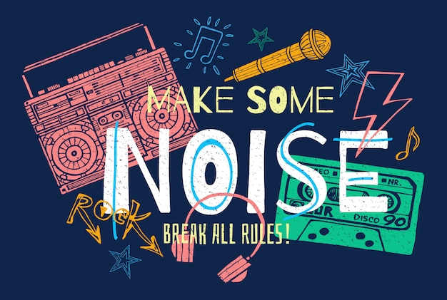 Grafica di slogan musicali per stampe retrò di poster di design t-shirt. Vettore Premium