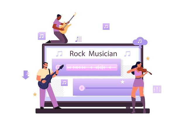 Servizio di streaming musicale e concetto di piattaforma. interprete, musicista o compositore rock moderno o classico. streaming di musica online da dispositivi diversi. Vettore Premium