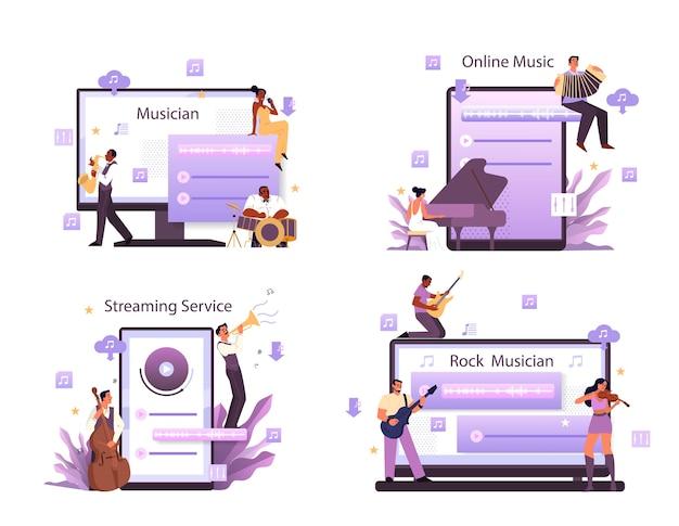Servizio di streaming musicale e set di piattaforme. interprete, musicista o compositore rock moderno o classico. streaming di musica online da dispositivi diversi. Vettore Premium