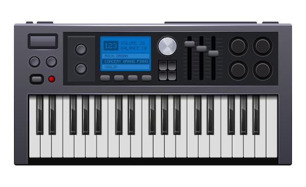 Sintetizzatore musicale. piano elettronico in stile realistico. Vettore Premium