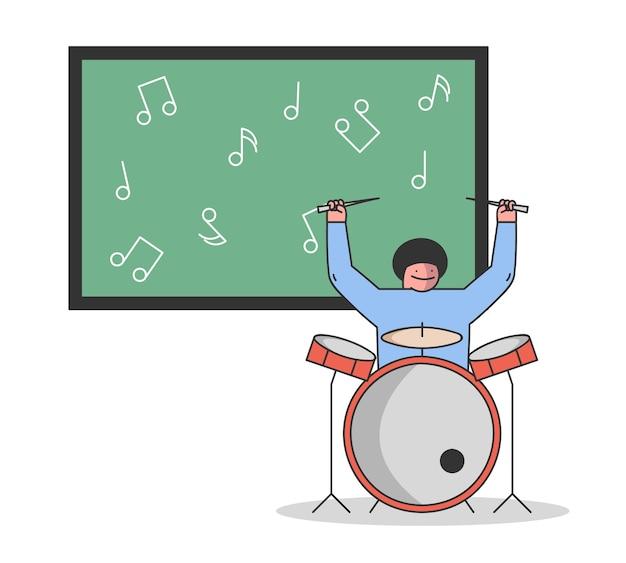 Concetto di educazione musicale. il ragazzo sta imparando a suonare strumenti musicali. Vettore Premium