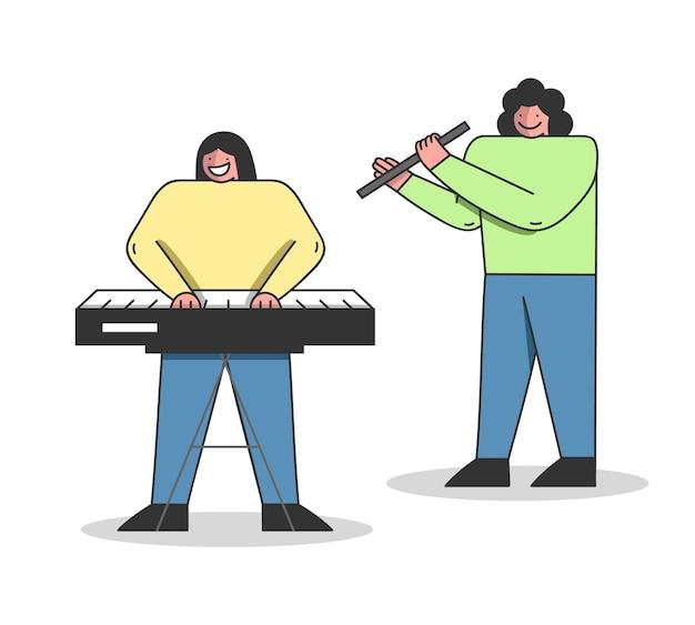 Concetto di educazione musicale. le persone stanno imparando a suonare diversi strumenti musicali. Vettore Premium