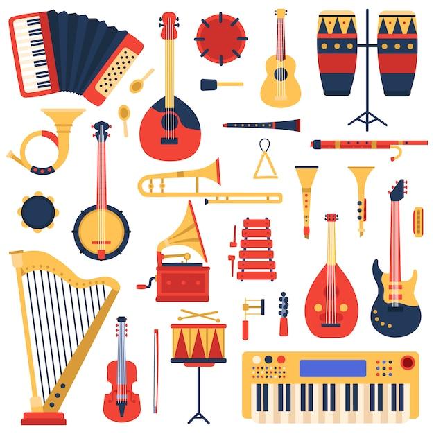 Strumenti musicali. chitarra di musica di scarabocchio del fumetto, batteria, sintetizzatore del piano ed arpa, insieme dell'illustrazione degli strumenti musicali della banda di jazz. grammofono e xilofono, tuba e trombone, banjo e flauto Vettore Premium