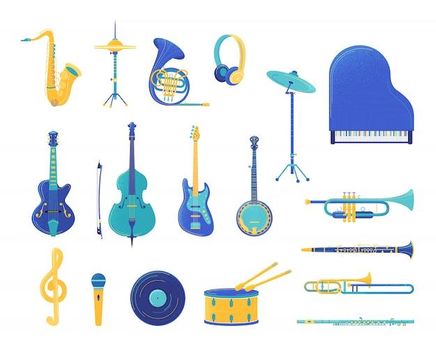 Set di illustrazioni piatte di strumenti musicali Vettore Premium