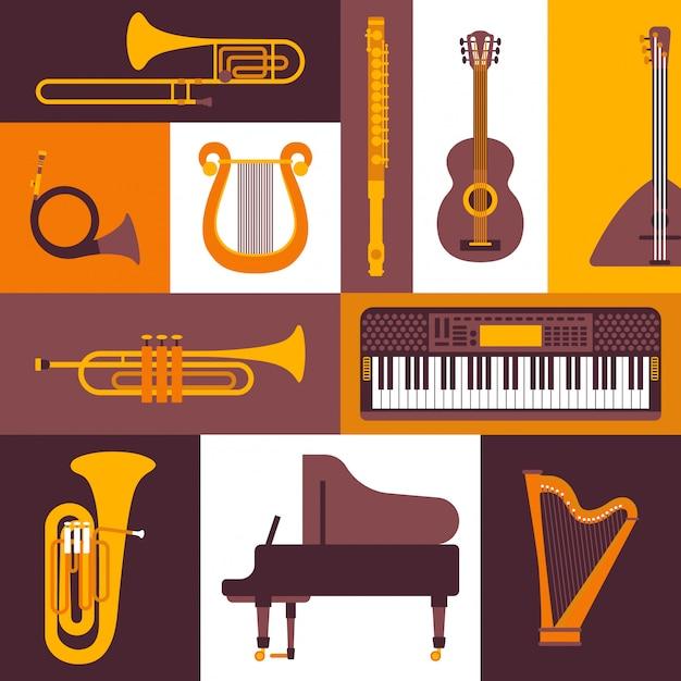 Illustrazione piana delle icone di stile degli strumenti musicali. collage di emblemi e adesivi isolati. pianoforte, tastiera, flauto, ottone e strumenti a corda. Vettore Premium