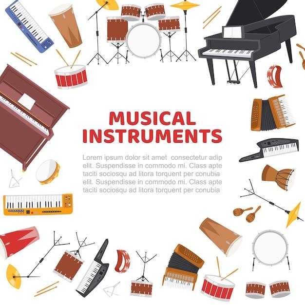 Cornice di strumenti musicali per modello di concerto di musica dal vivo Vettore Premium