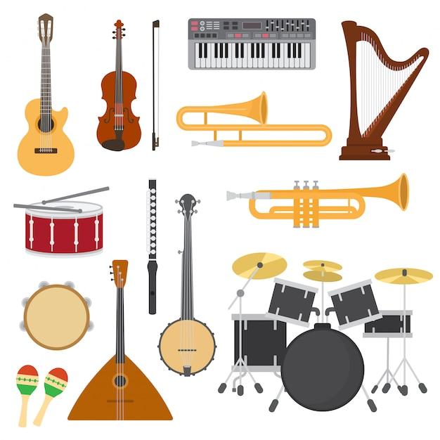 Strumenti musicali vettore concerto di musica con chitarra acustica o balalaika e musicisti violino o illustrazione di arpa Vettore Premium