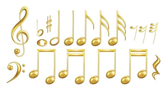 Simboli di note musicali in set di colori dorati Vettore Premium