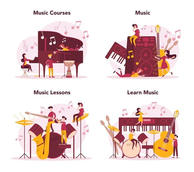 Musicista e corso di musica. giovane interprete che suona musica con attrezzature professionali. musicista di talento che suona strumenti musicali. . Vettore Premium